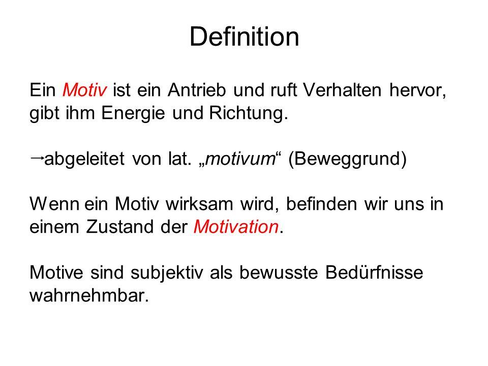 Definition Ein Motiv ist ein Antrieb und ruft Verhalten hervor, gibt ihm Energie und Richtung. abgeleitet von lat. motivum (Beweggrund) Wenn ein Motiv