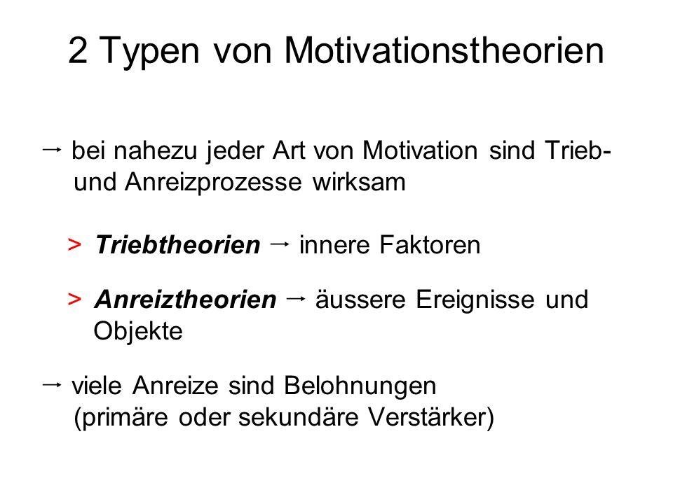 2 Typen von Motivationstheorien bei nahezu jeder Art von Motivation sind Trieb- und Anreizprozesse wirksam >Triebtheorien innere Faktoren >Anreiztheor