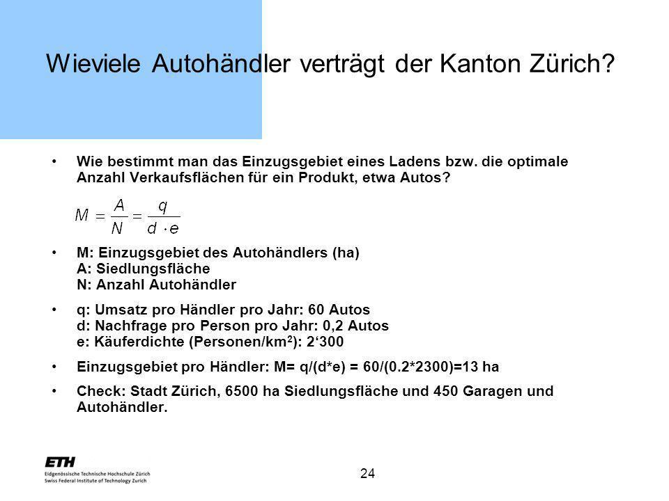 24 Wieviele Autohändler verträgt der Kanton Zürich? Wie bestimmt man das Einzugsgebiet eines Ladens bzw. die optimale Anzahl Verkaufsflächen für ein P