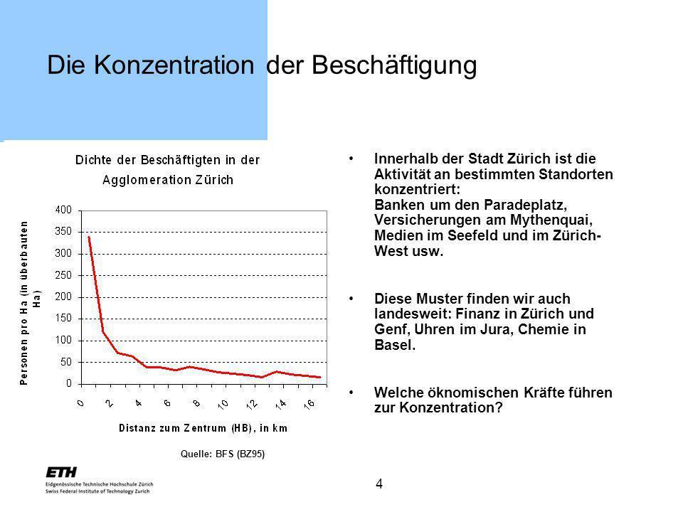 4 Die Konzentration der Beschäftigung Innerhalb der Stadt Zürich ist die Aktivität an bestimmten Standorten konzentriert: Banken um den Paradeplatz, V