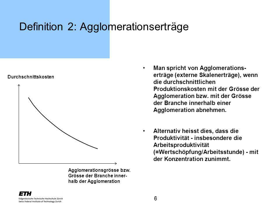 6 Definition 2: Agglomerationserträge Man spricht von Agglomerations- erträge (externe Skalenerträge), wenn die durchschnittlichen Produktionskosten m