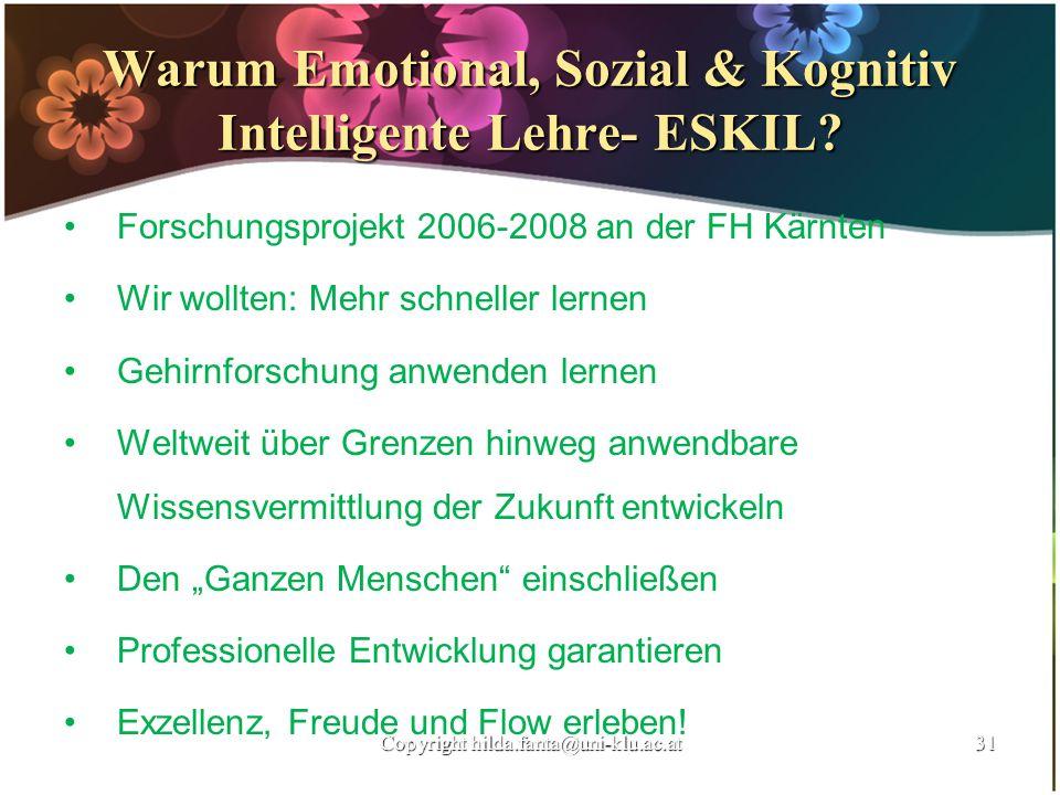 Warum Emotional, Sozial & Kognitiv Intelligente Lehre- ESKIL? Forschungsprojekt 2006-2008 an der FH Kärnten Wir wollten: Mehr schneller lernen Gehirnf