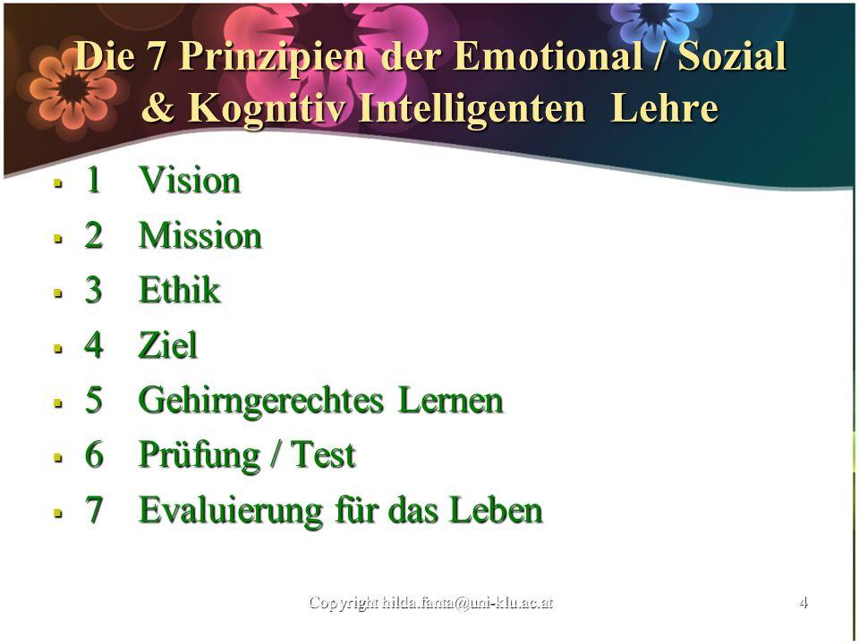 Die 7 Prinzipien der Emotional / Sozial & Kognitiv Intelligenten Lehre 1Vision 1Vision 2 Mission 2 Mission 3Ethik 3Ethik 4Ziel 4Ziel 5Gehirngerechtes
