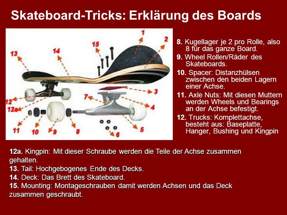 8. Kugellager je 2 pro Rolle, also 8 für das ganze Board. 9. Wheel Rollen/Räder des Skateboards. 10. Spacer: Distanzhülsen zwischen den beiden Lagern