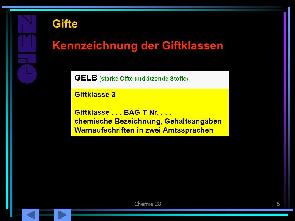 Chemie 285 Kennzeichnung der Giftklassen Gifte GELB (starke Gifte und ätzende Stoffe) Giftklasse 3 Giftklasse... BAG T Nr.... chemische Bezeichnung, G