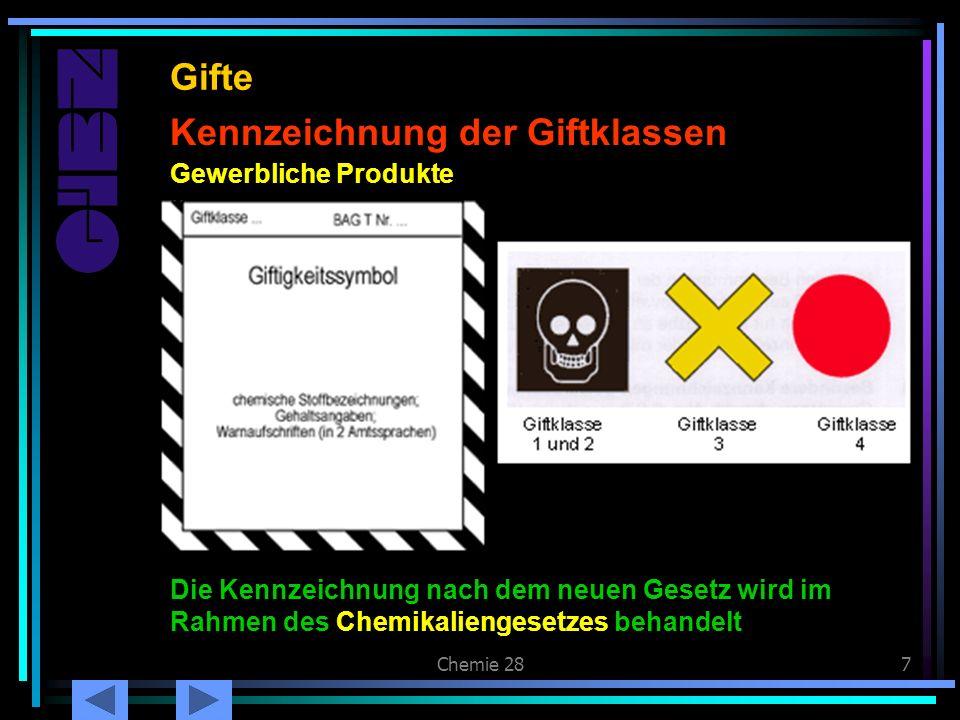 Chemie 287 Kennzeichnung der Giftklassen Gifte Gewerbliche Produkte Die Kennzeichnung nach dem neuen Gesetz wird im Rahmen des Chemikaliengesetzes beh