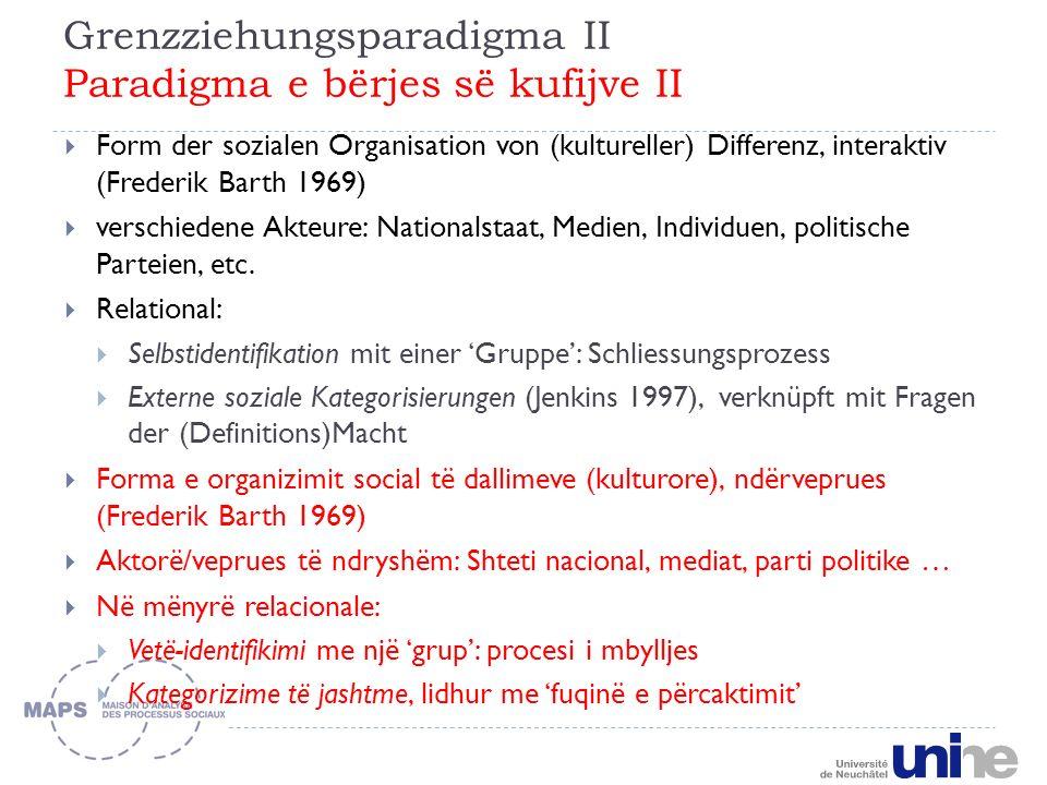 Grenzziehungsparadigma II Paradigma e bërjes së kufijve II Form der sozialen Organisation von (kultureller) Differenz, interaktiv (Frederik Barth 1969) verschiedene Akteure: Nationalstaat, Medien, Individuen, politische Parteien, etc.