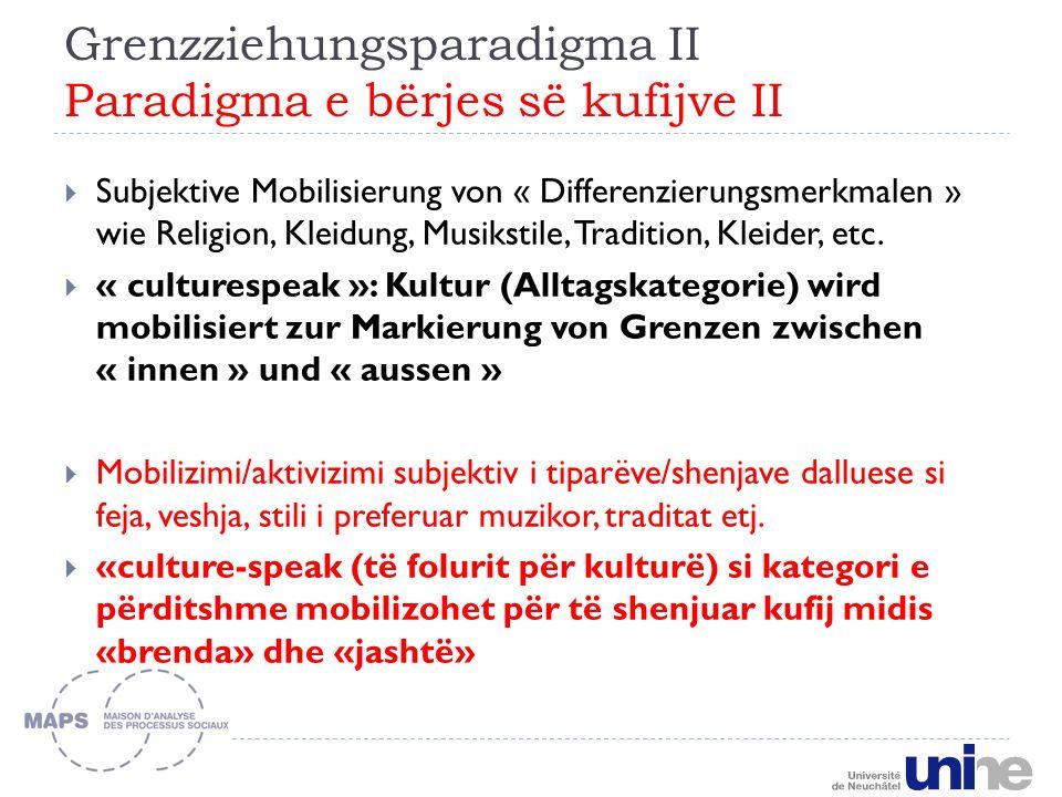 Grenzziehungsparadigma II Paradigma e bërjes së kufijve II Subjektive Mobilisierung von « Differenzierungsmerkmalen » wie Religion, Kleidung, Musikstile, Tradition, Kleider, etc.