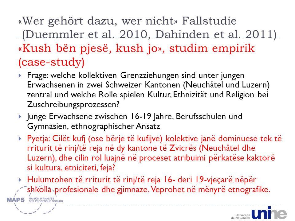 «Wer gehört dazu, wer nicht» Fallstudie (Duemmler et al.