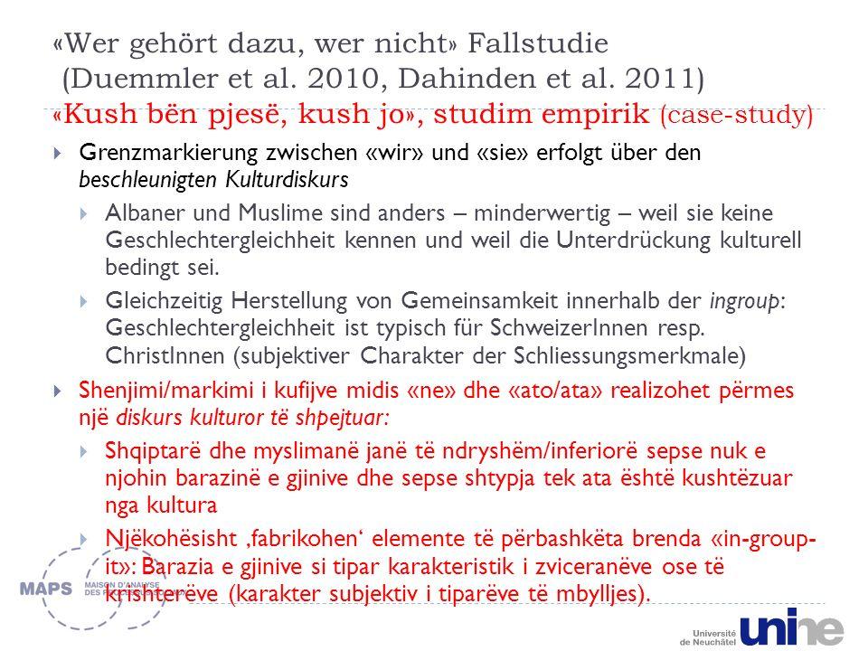 « Wer gehört dazu, wer nicht» Fallstudie (Duemmler et al.