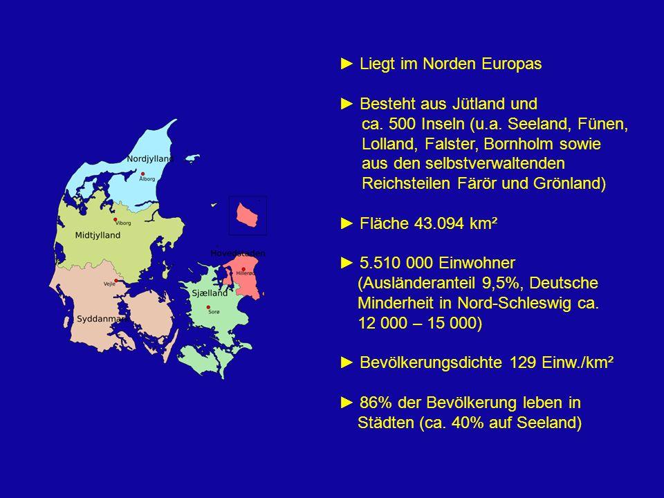 Liegt im Norden Europas Besteht aus Jütland und ca. 500 Inseln (u.a. Seeland, Fünen, Lolland, Falster, Bornholm sowie aus den selbstverwaltenden Reich