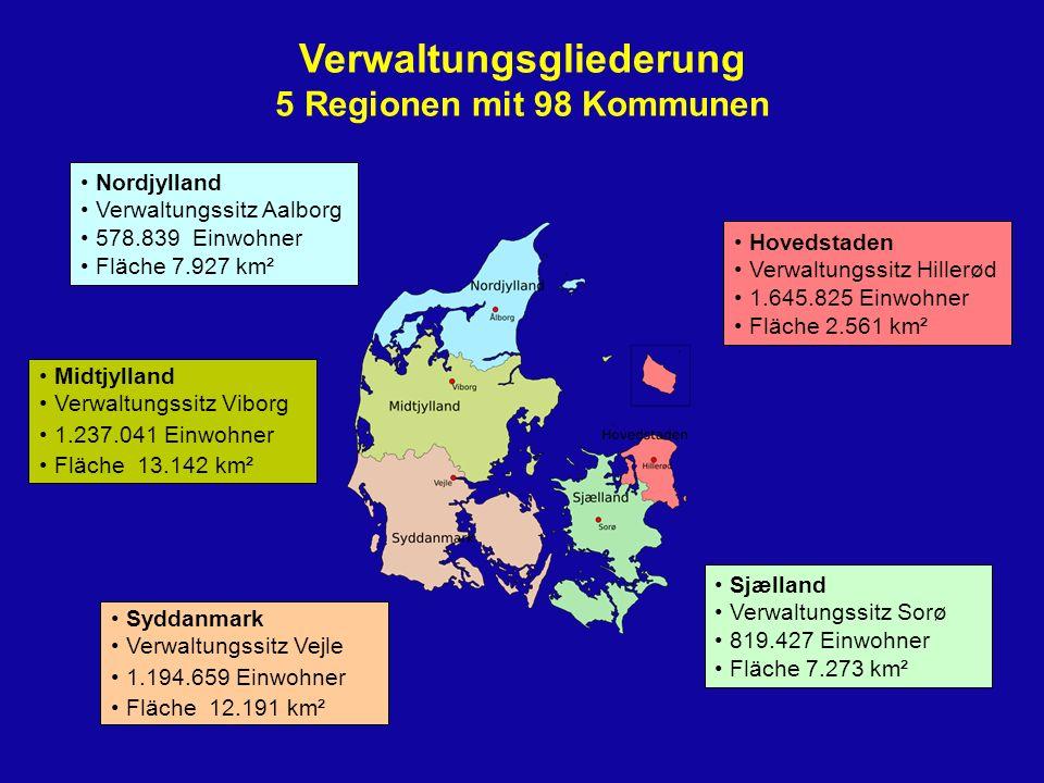 Verwaltungsgliederung 5 Regionen mit 98 Kommunen Nordjylland Verwaltungssitz Aalborg 578.839 Einwohner Fläche 7.927 km² Midtjylland Verwaltungssitz Vi