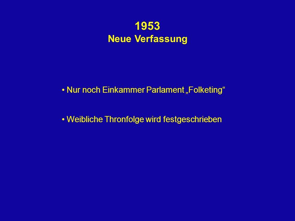 1953 Neue Verfassung Nur noch Einkammer Parlament Folketing Weibliche Thronfolge wird festgeschrieben