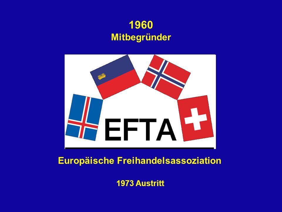 1960 Mitbegründer 1973 Austritt Europäische Freihandelsassoziation
