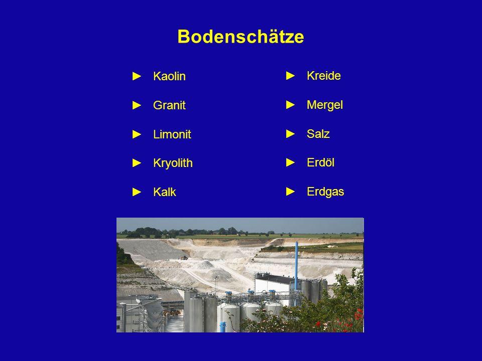 Bodenschätze Kaolin Granit Limonit Kryolith Kalk Kreide Mergel Salz Erdöl Erdgas