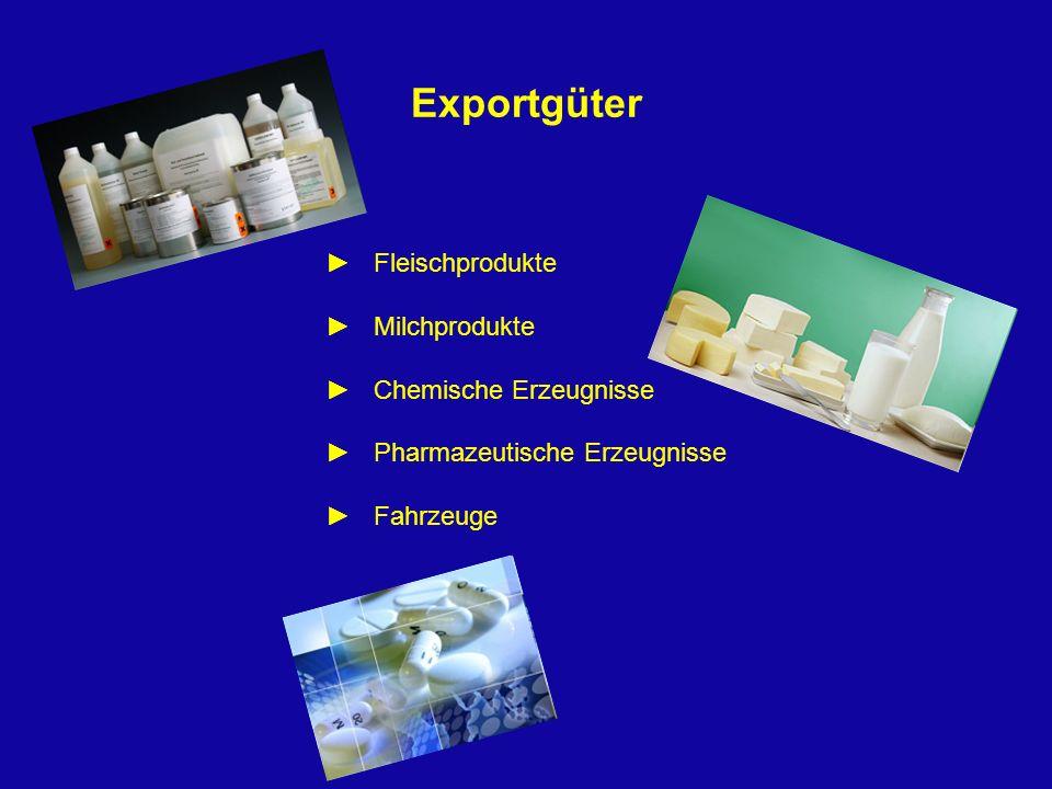 Exportgüter Fleischprodukte Milchprodukte Chemische Erzeugnisse Pharmazeutische Erzeugnisse Fahrzeuge
