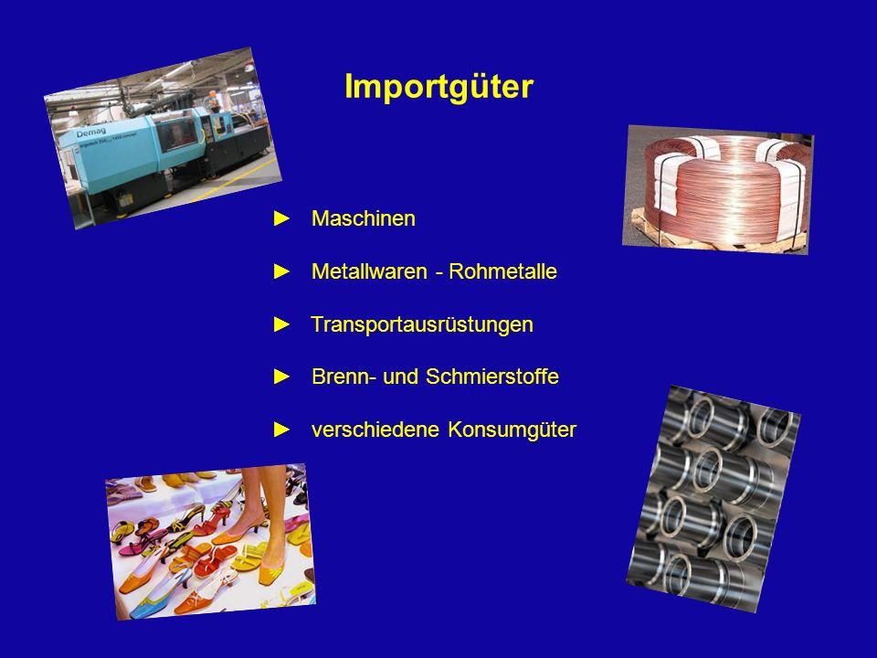 Importgüter Maschinen Metallwaren - Rohmetalle Transportausrüstungen Brenn- und Schmierstoffe verschiedene Konsumgüter