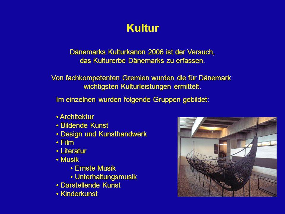 Kultur Dänemarks Kulturkanon 2006 ist der Versuch, das Kulturerbe Dänemarks zu erfassen. Von fachkompetenten Gremien wurden die für Dänemark wichtigst