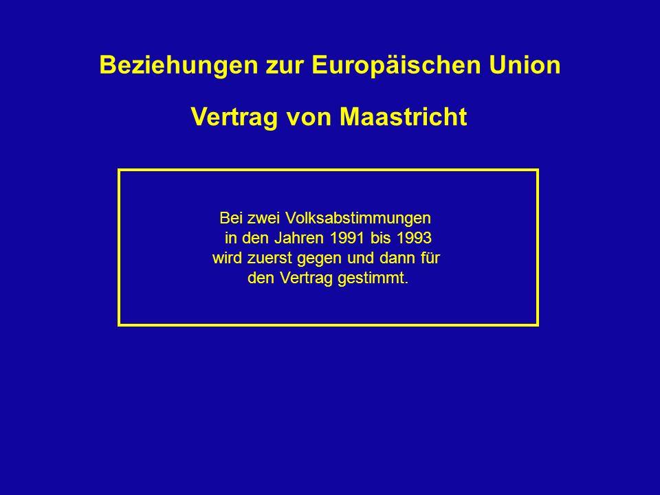Vertrag von Maastricht Bei zwei Volksabstimmungen in den Jahren 1991 bis 1993 wird zuerst gegen und dann für den Vertrag gestimmt. Beziehungen zur Eur