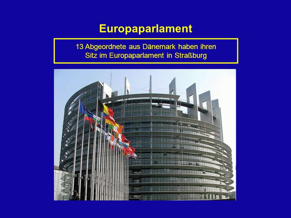 13 Abgeordnete aus Dänemark haben ihren Sitz im Europaparlament in Straßburg Europaparlament