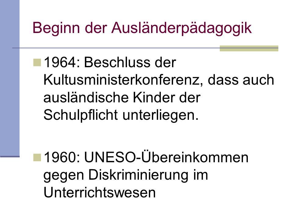 1964: Beschluss der Kultusministerkonferenz, dass auch ausländische Kinder der Schulpflicht unterliegen. 1960: UNESO-Übereinkommen gegen Diskriminieru