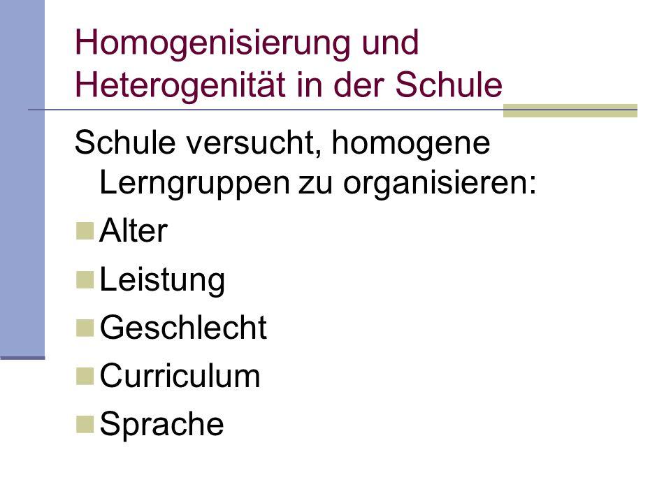 Schule versucht, homogene Lerngruppen zu organisieren: Alter Leistung Geschlecht Curriculum Sprache Homogenisierung und Heterogenität in der Schule