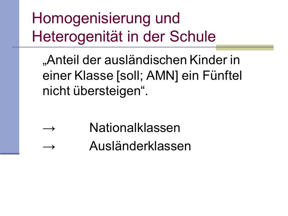 Anteil der ausländischen Kinder in einer Klasse [soll; AMN] ein Fünftel nicht übersteigen. Nationalklassen Ausländerklassen Homogenisierung und Hetero