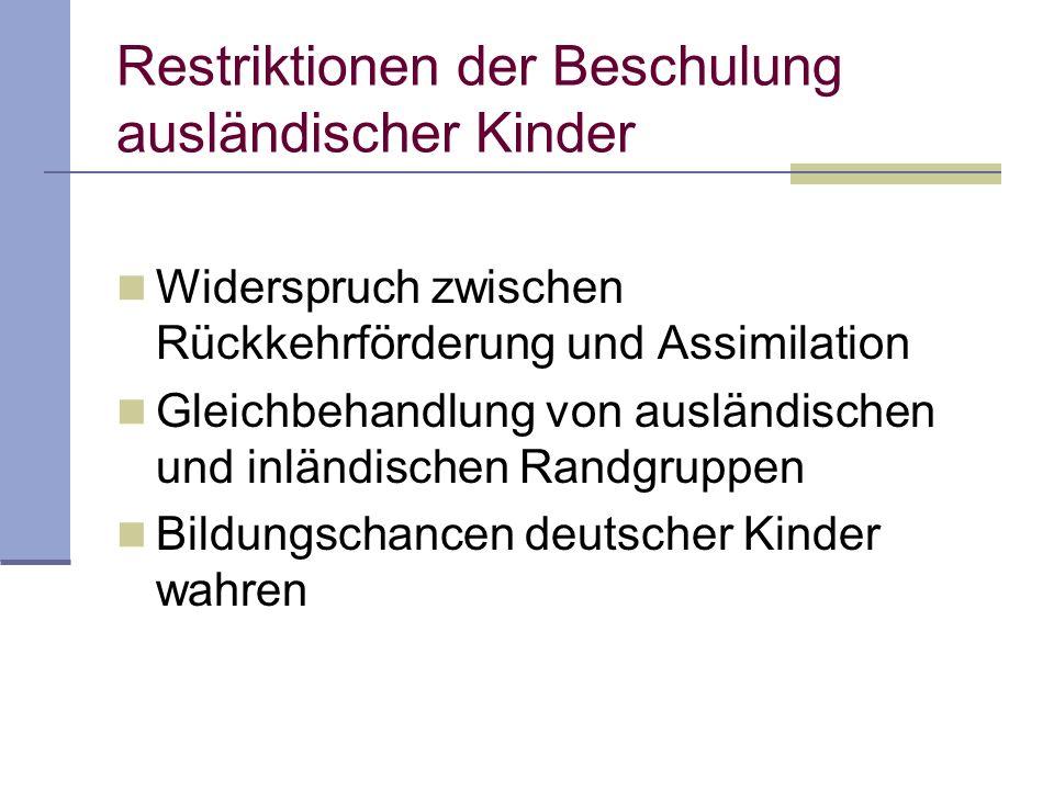 Widerspruch zwischen Rückkehrförderung und Assimilation Gleichbehandlung von ausländischen und inländischen Randgruppen Bildungschancen deutscher Kind