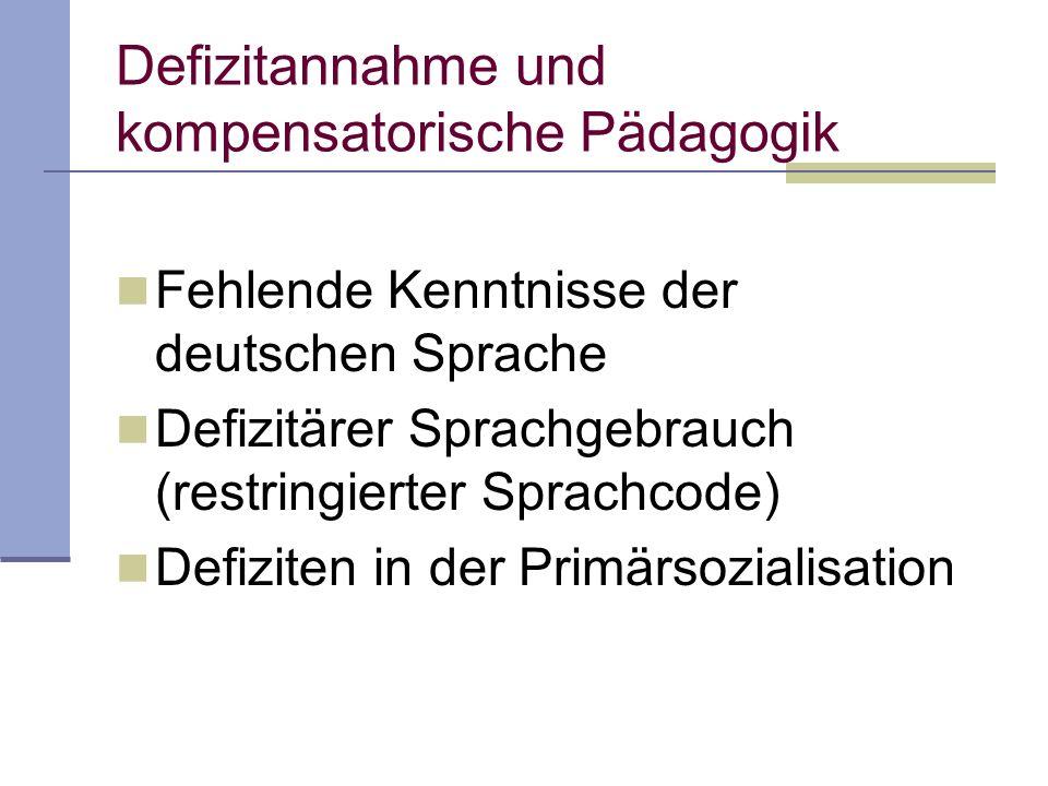 Fehlende Kenntnisse der deutschen Sprache Defizitärer Sprachgebrauch (restringierter Sprachcode) Defiziten in der Primärsozialisation Defizitannahme u