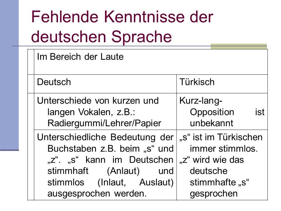 Fehlende Kenntnisse der deutschen Sprache Im Bereich der Laute DeutschTürkisch Unterschiede von kurzen und langen Vokalen, z.B.: Radiergummi/Lehrer/Pa