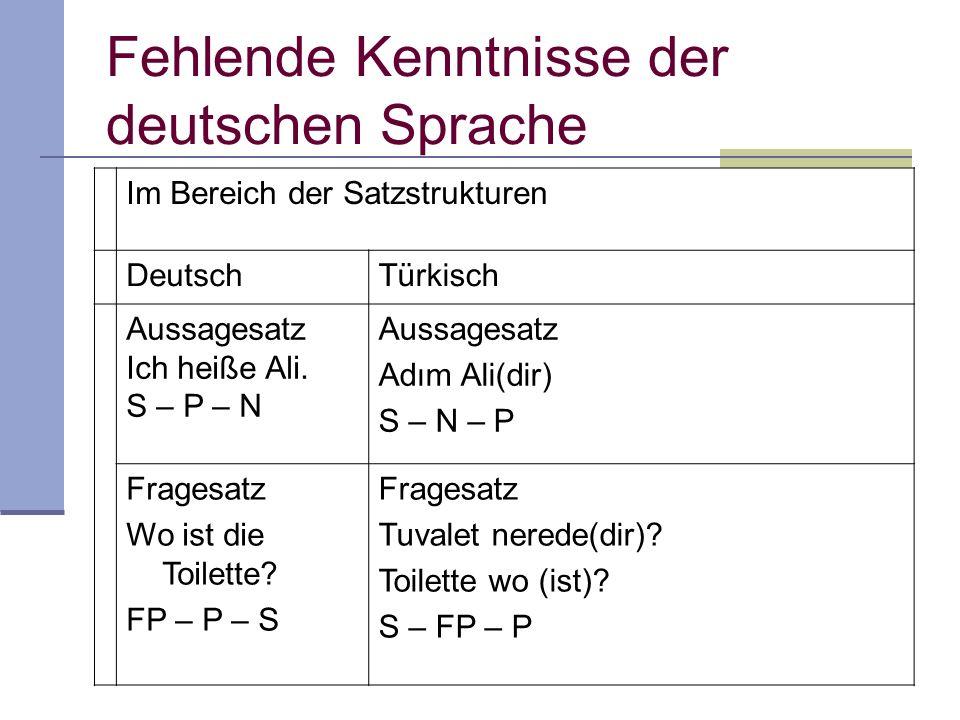 Fehlende Kenntnisse der deutschen Sprache Im Bereich der Satzstrukturen DeutschTürkisch Aussagesatz Ich heiße Ali. S – P – N Aussagesatz Adım Ali(dir)