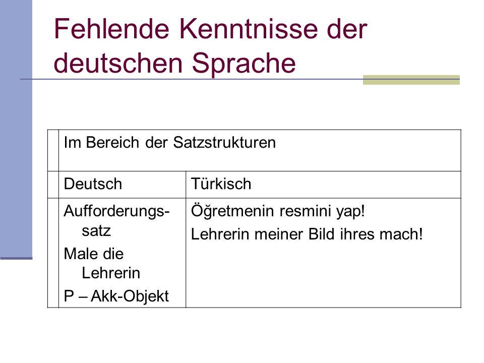 Fehlende Kenntnisse der deutschen Sprache Im Bereich der Satzstrukturen DeutschTürkisch Aufforderungs- satz Male die Lehrerin P – Akk-Objekt Öğretmeni