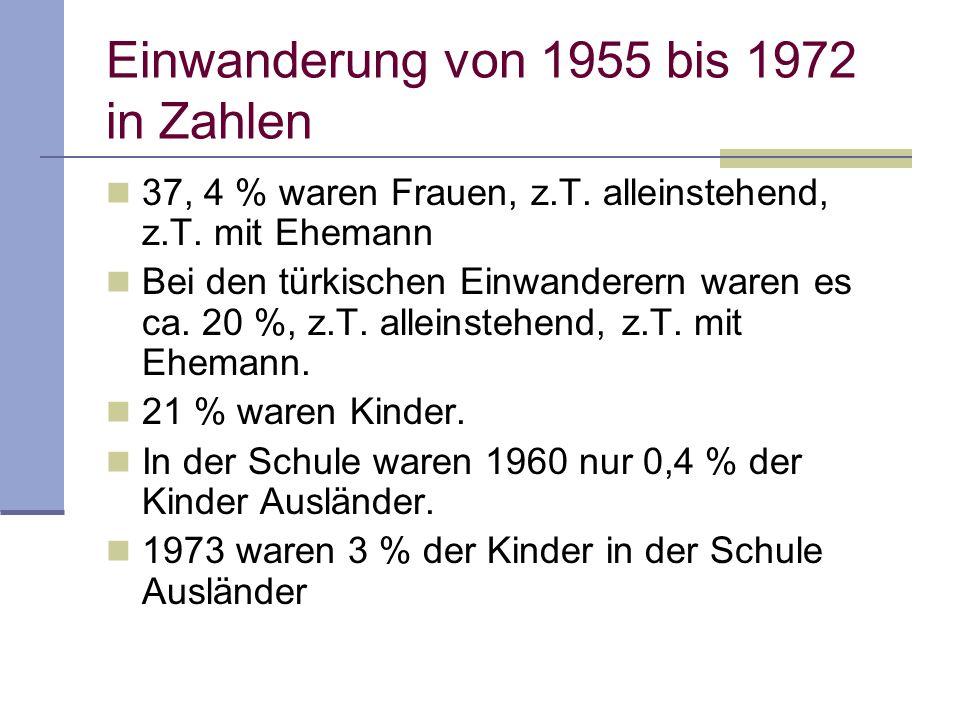 Einwanderung von 1955 bis 1972 in Zahlen 37, 4 % waren Frauen, z.T. alleinstehend, z.T. mit Ehemann Bei den türkischen Einwanderern waren es ca. 20 %,