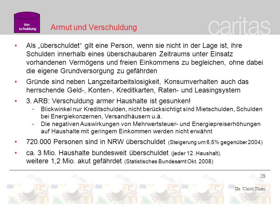 28 Dr. Ulrich Thien Armut und Verschuldung Als überschuldet gilt eine Person, wenn sie nicht in der Lage ist, ihre Schulden innerhalb eines überschaub
