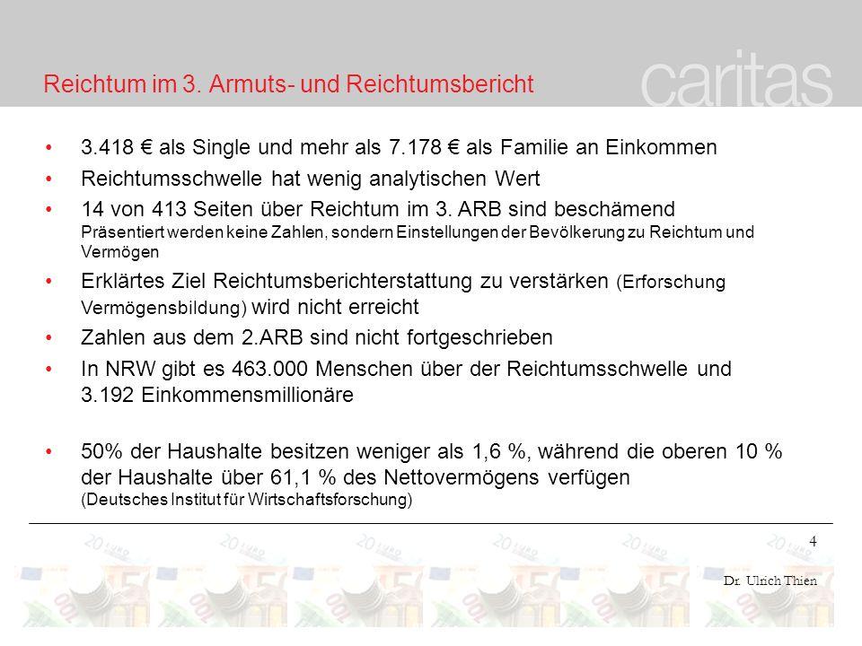 4 Dr. Ulrich Thien Reichtum im 3. Armuts- und Reichtumsbericht 3.418 als Single und mehr als 7.178 als Familie an Einkommen Reichtumsschwelle hat weni