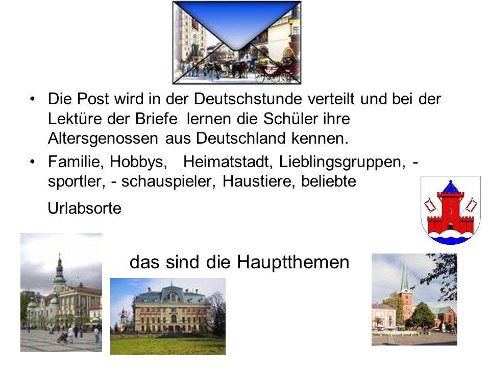 Die Post wird in der Deutschstunde verteilt und bei der Lektüre der Briefe lernen die Schüler ihre Altersgenossen aus Deutschland kennen. Familie, Hob