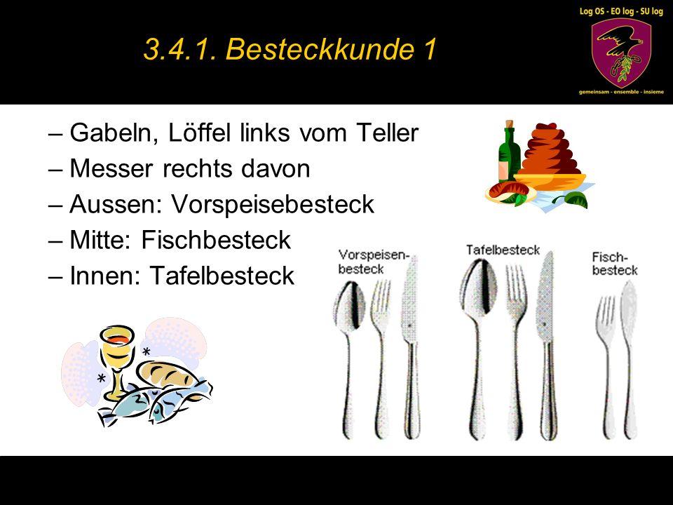 –Dessertbesteck liegt oben am Teller –Kaffeelöffel und Kuchengabel für Kuchen und Torten –Kuchengabel und Obstmesser für Früchte –Sahnelöffel für Sahne –Moccalöffel für Kaffee 3.4.2.