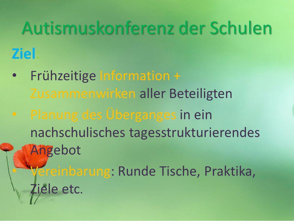 Autismuskonferenz der Schulen Ziel: Frühzeitige Information + Zusammenwirken aller Beteiligten Planung des Überganges in ein nachschulisches tagesstrukturierendes Angebot Vereinbarung: Runde Tische, Praktika, Ziele etc.