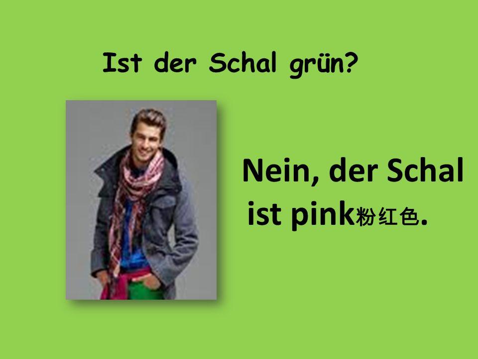 Ist der Schal grün? Nein, der Schal ist pink.