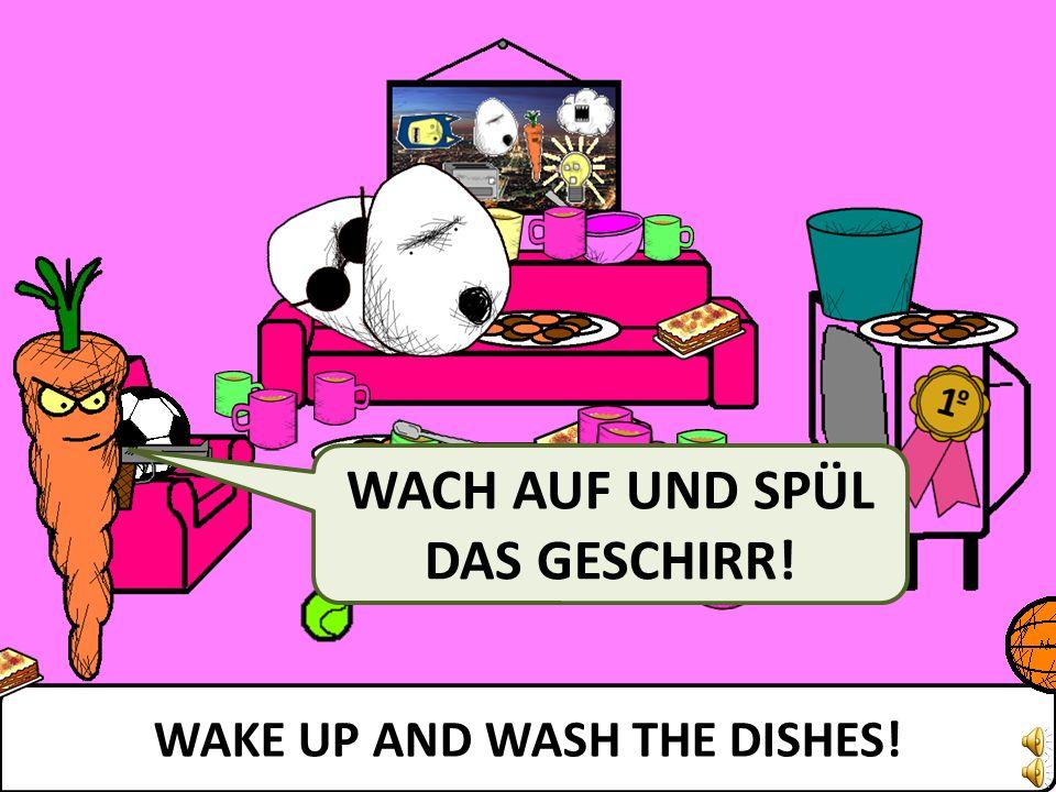WAKE UP AND WASH THE DISHES! WACH AUF UND SPÜL DAS GESCHIRR!