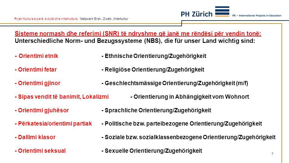Rrjeti Kultura e parë, e dytë dhe interkultura Netzwerk Erst-, Zweit-, Interkultur 7 Sisteme normash dhe referimi (SNR) të ndryshme që janë me rëndësi për vendin tonë: Unterschiedliche Norm- und Bezugssysteme (NBS), die für unser Land wichtig sind: - Orientimi etnik- Ethnische Orientierung/Zugehörigkeit - Orientimi fetar- Religiöse Orientierung/Zugehörigkeit - Orientimi gjinor- Geschlechtsmässige Orientierung/Zugehörigkeit (m/f) - Sipas vendit të banimit, Lokalizmi - Orientierung in Abhängigkeit vom Wohnort - Orientimi gjuhësor- Sprachliche Orientierung/Zugehörigkeit - Përkatesia/orientimi partiak- Politische bzw.