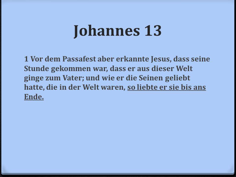 Johannes 13 1 Vor dem Passafest aber erkannte Jesus, dass seine Stunde gekommen war, dass er aus dieser Welt ginge zum Vater; und wie er die Seinen ge