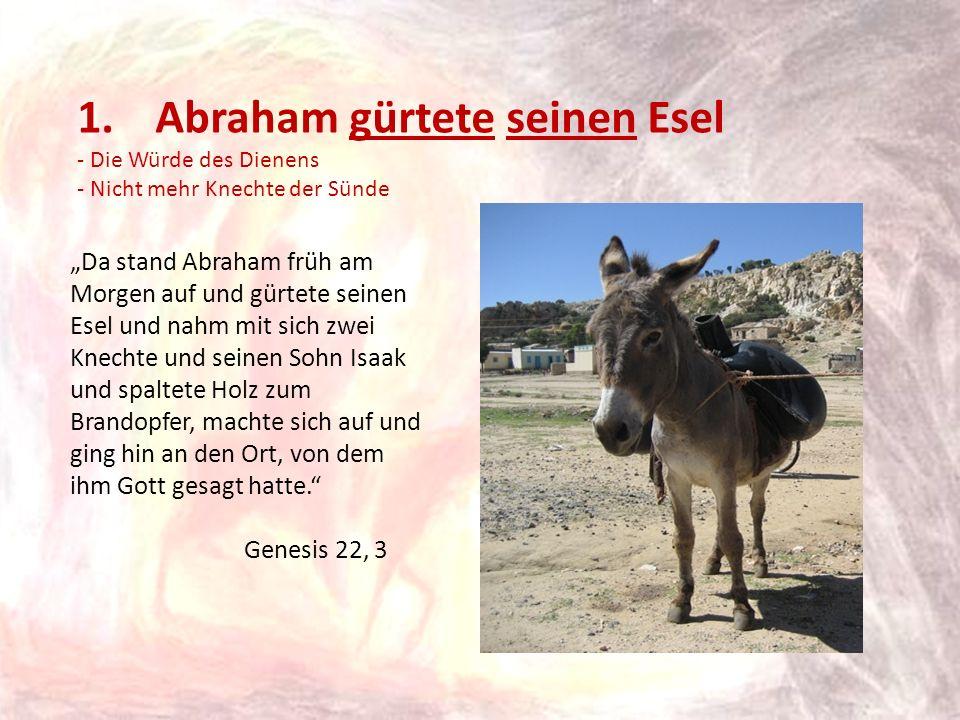 1.Abraham gürtete seinen Esel - Die Würde des Dienens - Nicht mehr Knechte der Sünde Da stand Abraham früh am Morgen auf und gürtete seinen Esel und n