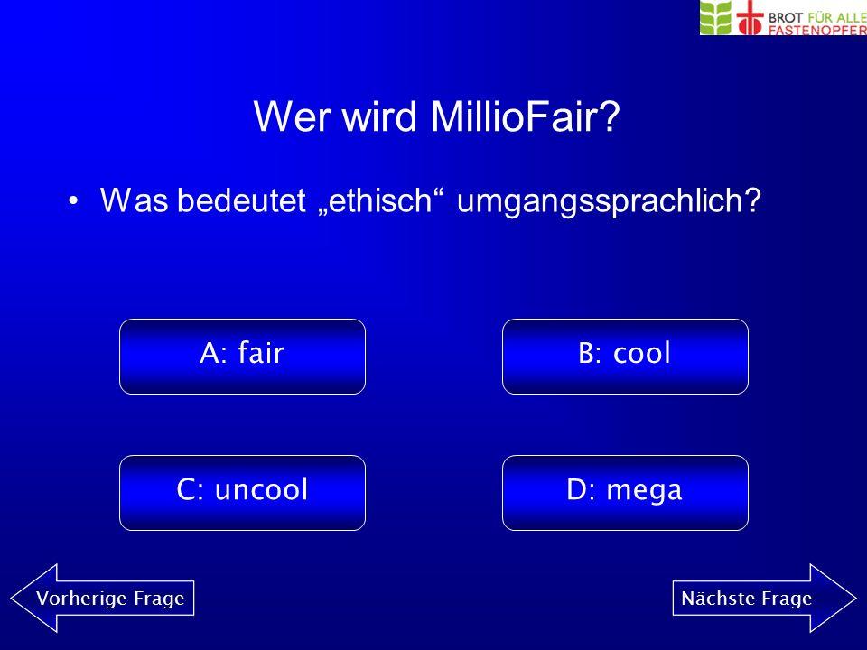 Wer wird MillioFair? Vorherige FrageNächste Frage Wie lange muss eine Computerfabrikarbeiterin arbeiten, damit sie sich einen Big Mac leisten kann? A: