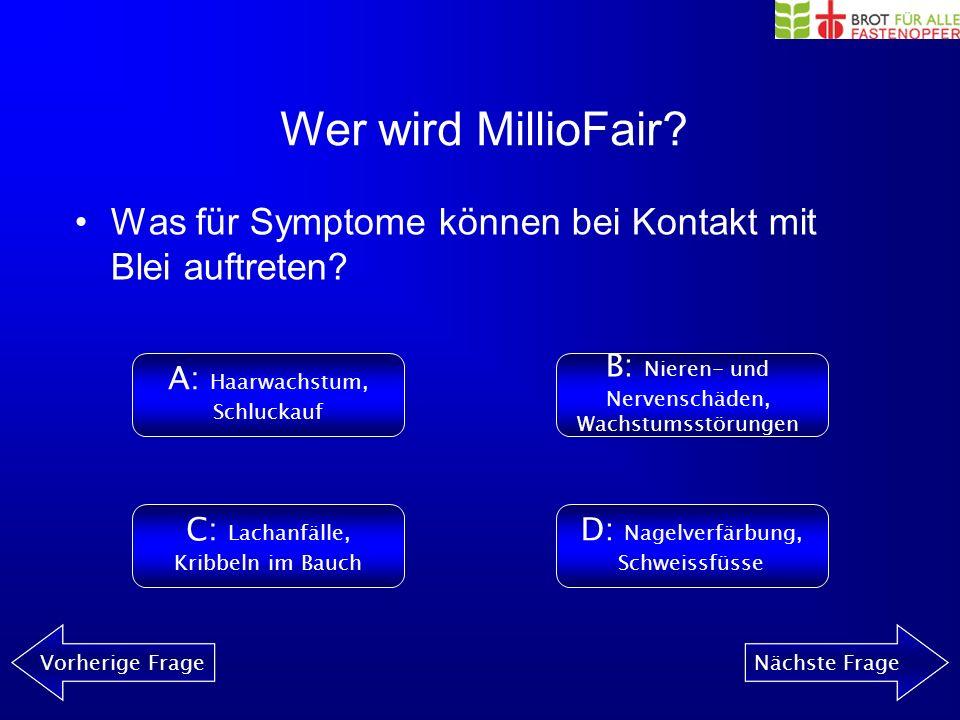 Wer wird MillioFair? Vorherige FrageNächste Frage Was findet man in keinem Computer? A: BleiB: Beryllium C: HeliumD: Dioxin