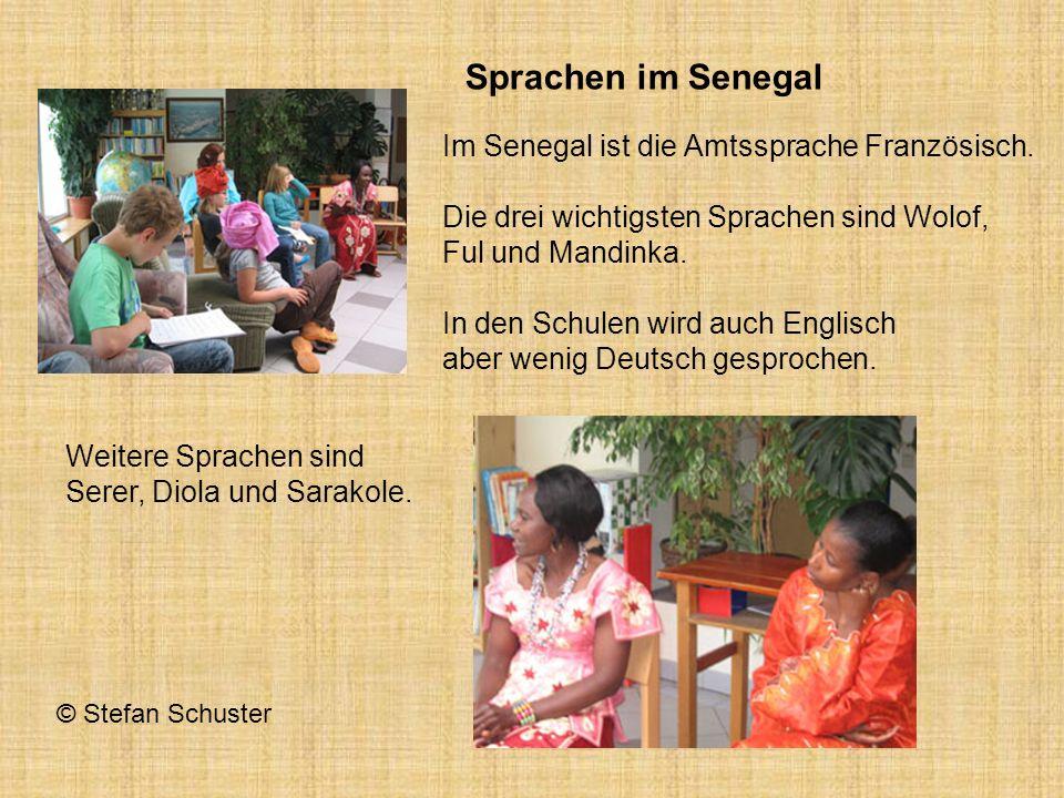 Im Senegal ist die Amtssprache Französisch. Die drei wichtigsten Sprachen sind Wolof, Ful und Mandinka. In den Schulen wird auch Englisch aber wenig D