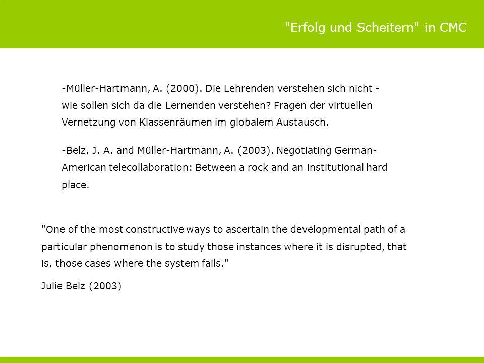 Erfolg und Scheitern in CMC -Müller-Hartmann, A.