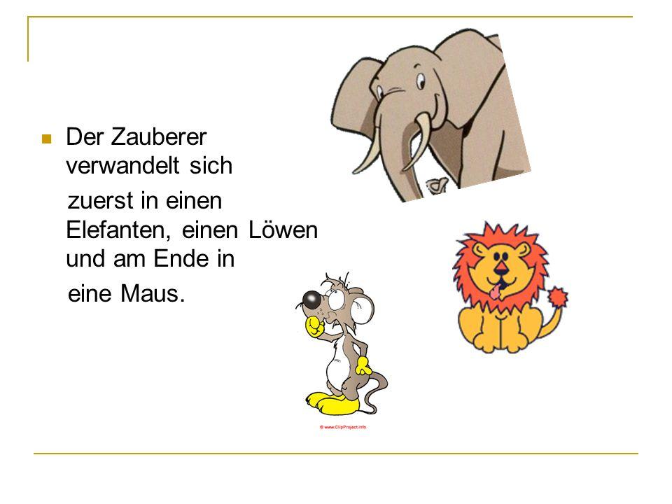 Der Zauberer verwandelt sich zuerst in einen Elefanten, einen Löwen und am Ende in eine Maus.