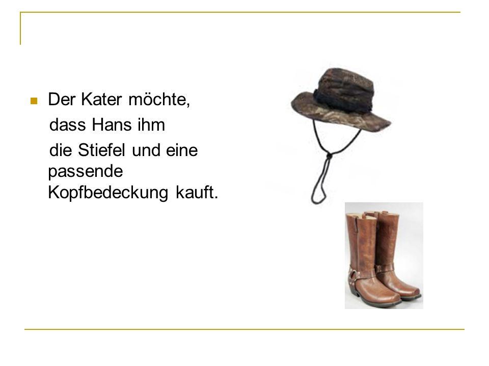 Der Kater möchte, dass Hans ihm die Stiefel und eine passende Kopfbedeckung kauft.