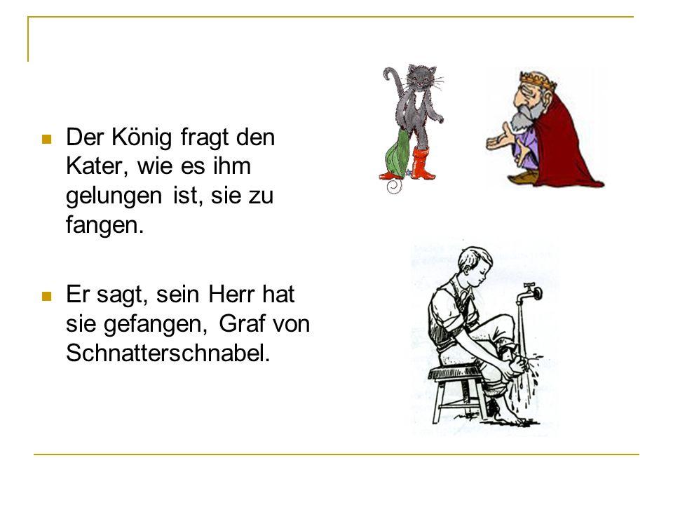 Der König fragt den Kater, wie es ihm gelungen ist, sie zu fangen. Er sagt, sein Herr hat sie gefangen, Graf von Schnatterschnabel.